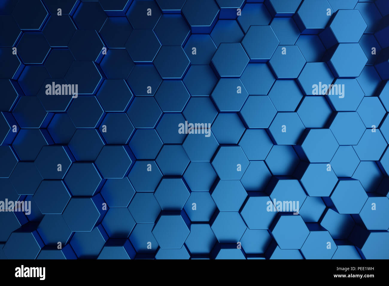 3d illustration abstract dark blue of futuristic surface hexagon