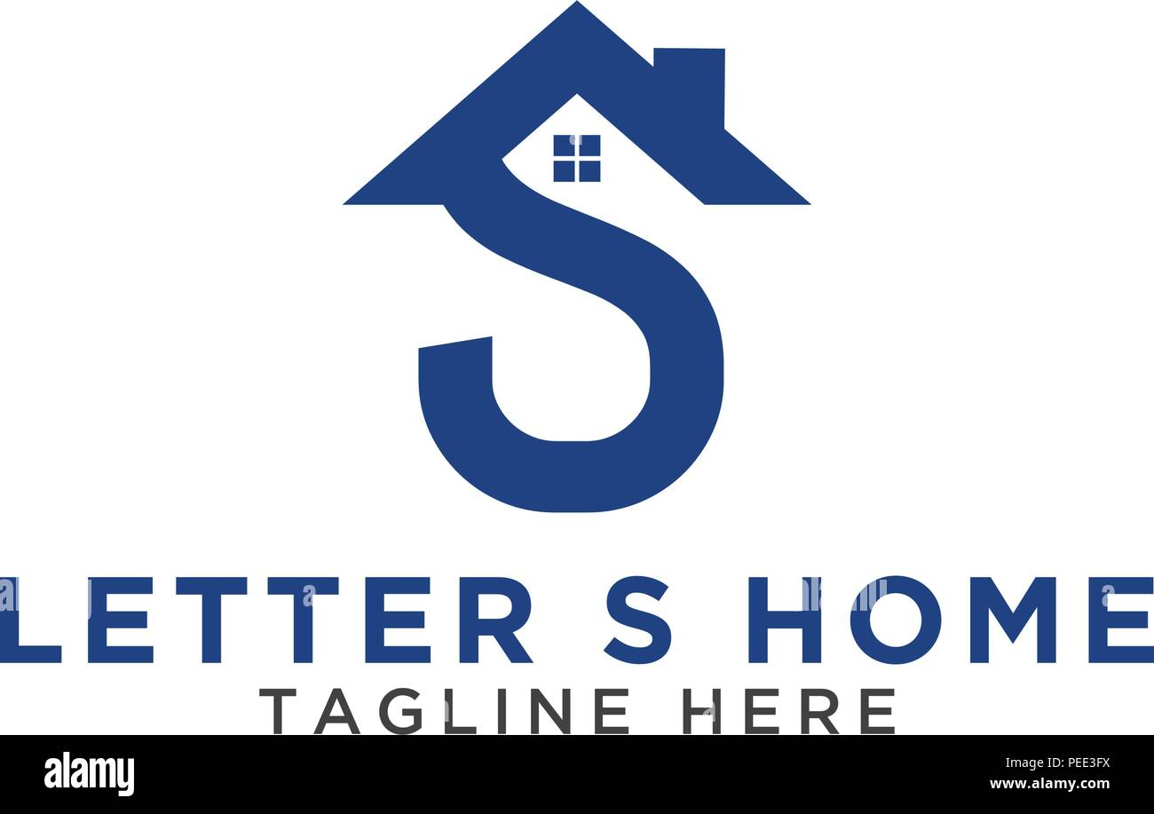 Initial Letter S And House Logo Design Template Vector Stock
