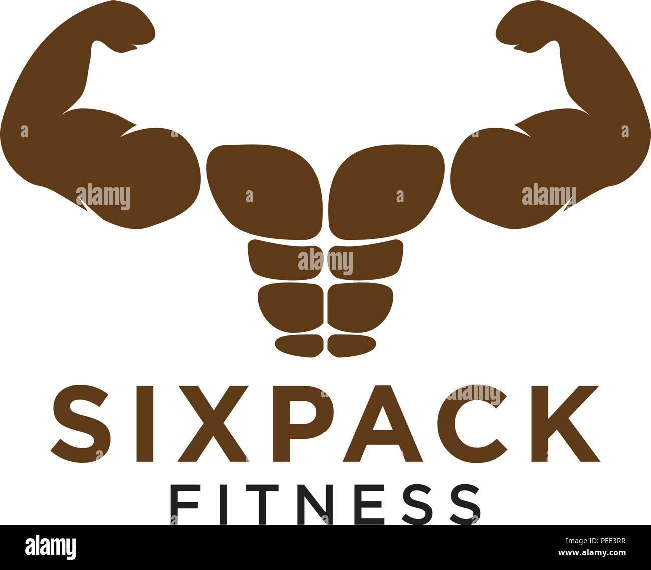 sixpack belly and strong muscle logo design template vector stock