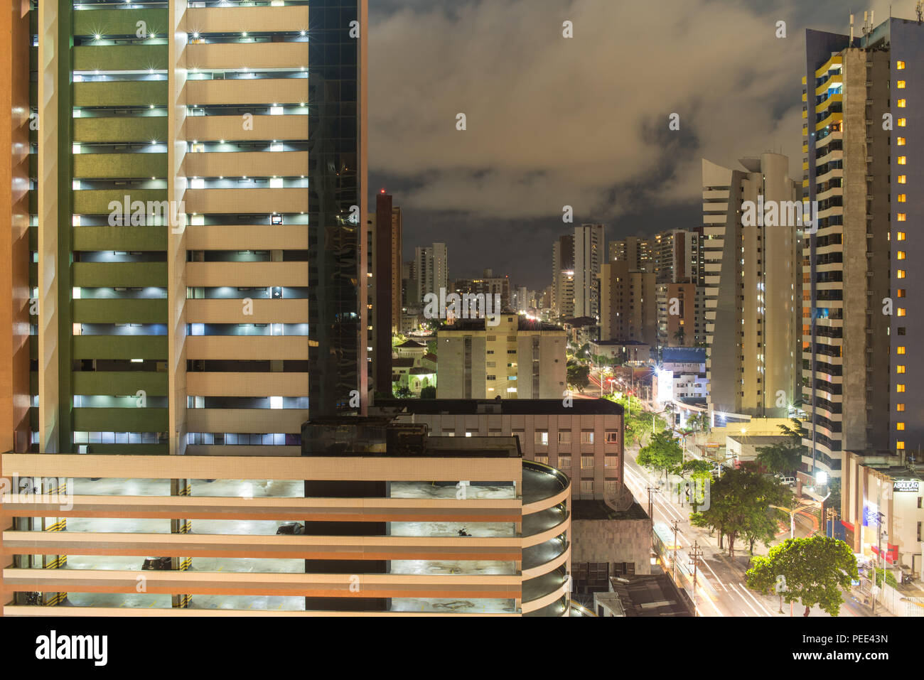 FORTALEZA, BRAZIL - MARCH 1, 2018: Abolicao street at night, Ceara State, city of northeast of Brazil . Stock Photo