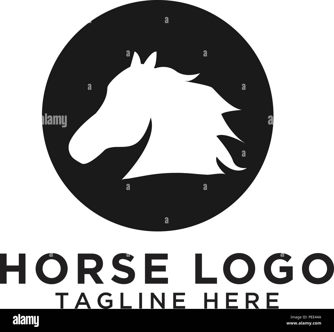Illustration Of Circle Horse Silhouette Logo Design Template Vector Stock Vector Image Art Alamy