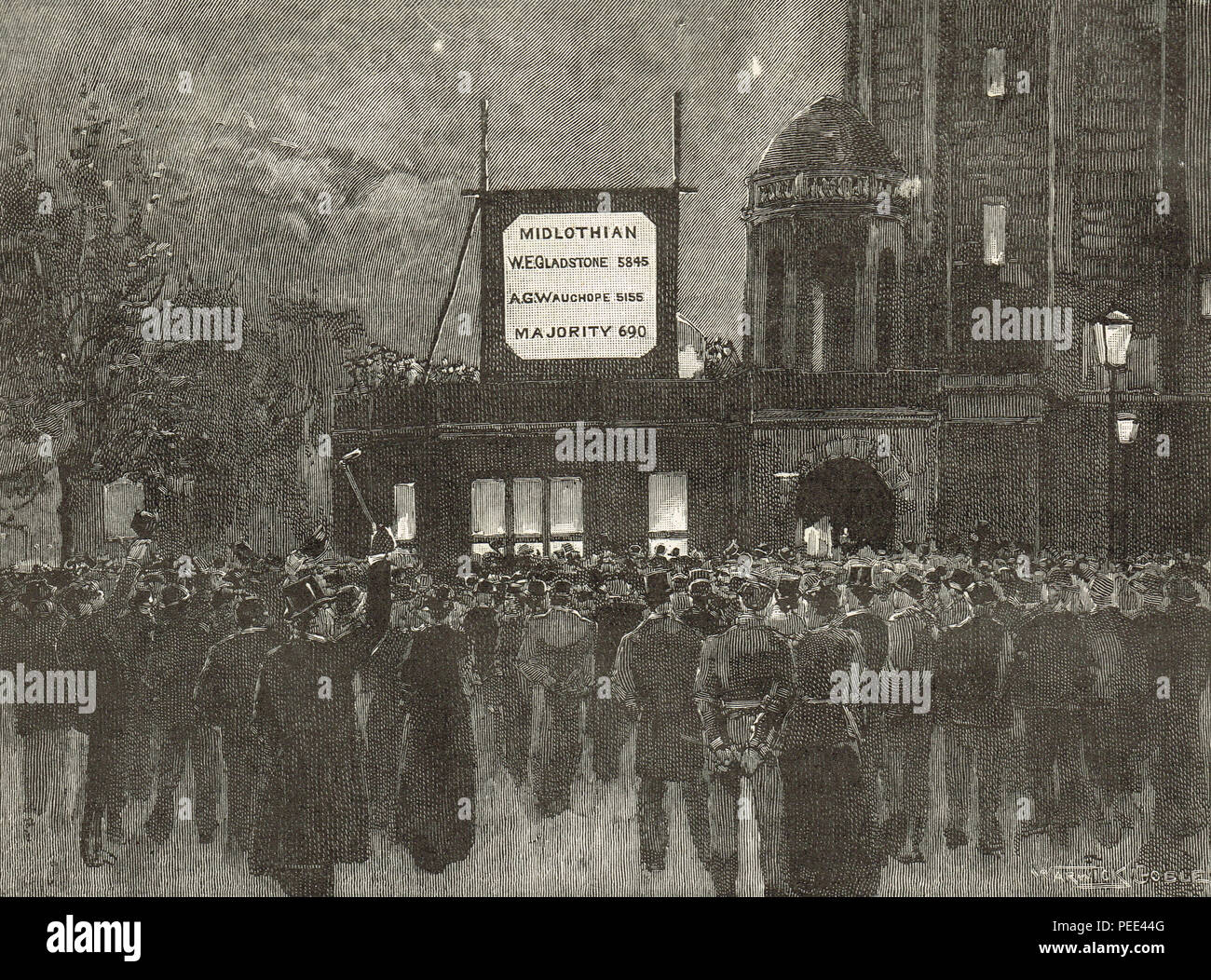 The results of Gladstone's Midlothian constituency displayed at the National Liberal club in London, General Election of 1892 - Stock Image