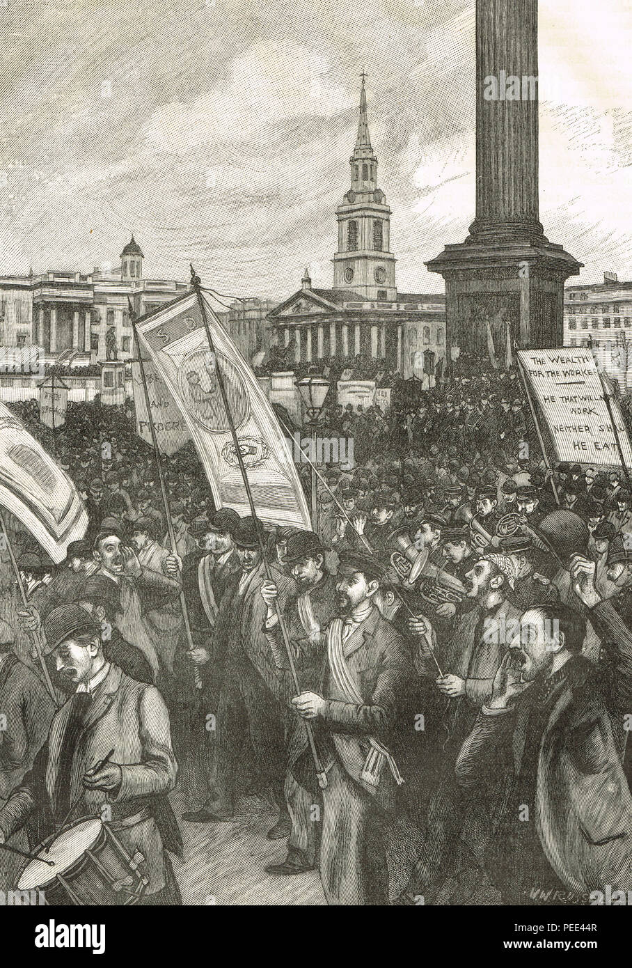Public meeting in Trafalgar Square, London, 13 November 1892, in commemoration of Bloody Sunday - Stock Image