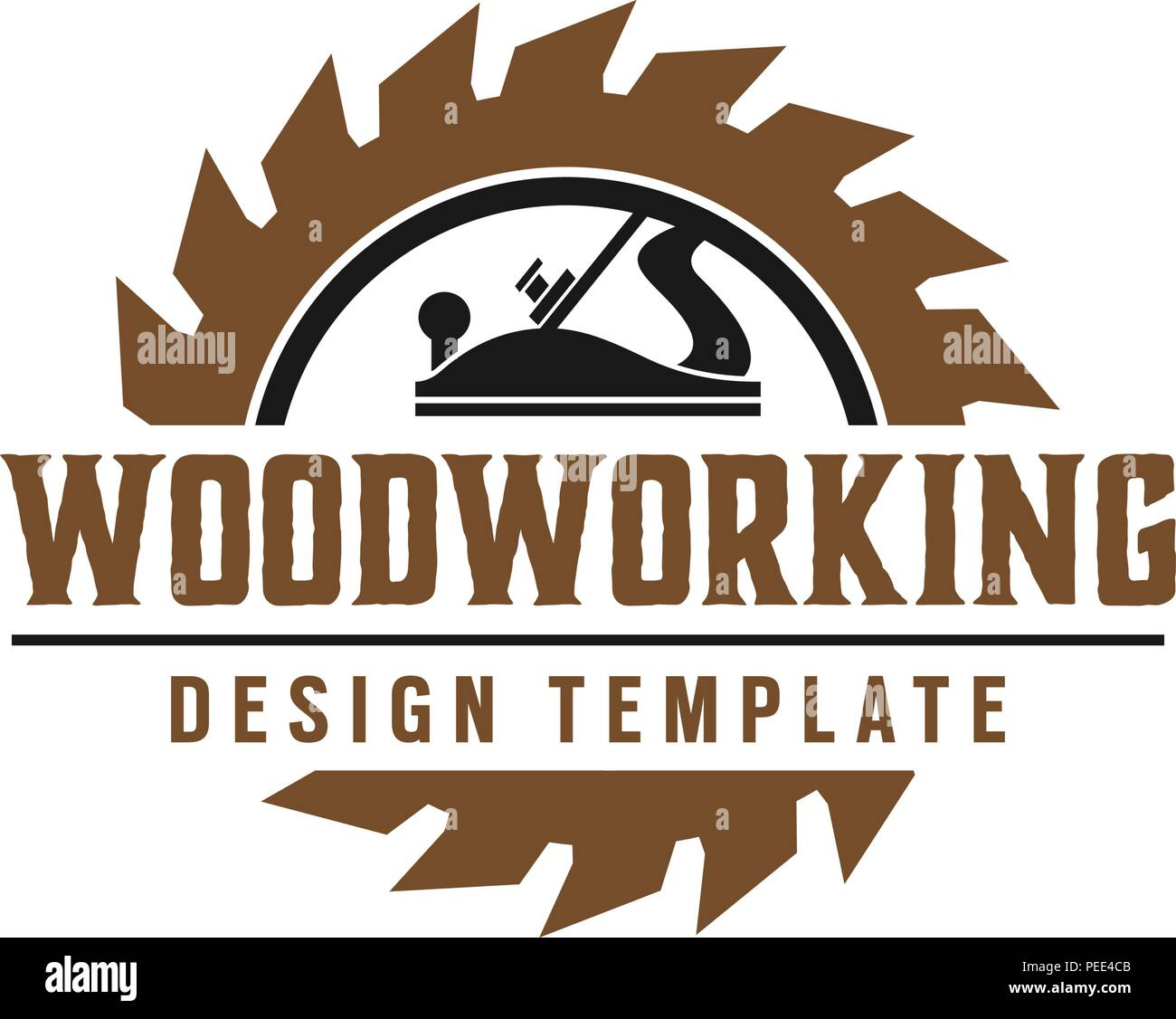 Woodworking gear logo design template vector element isolated Stock Vector