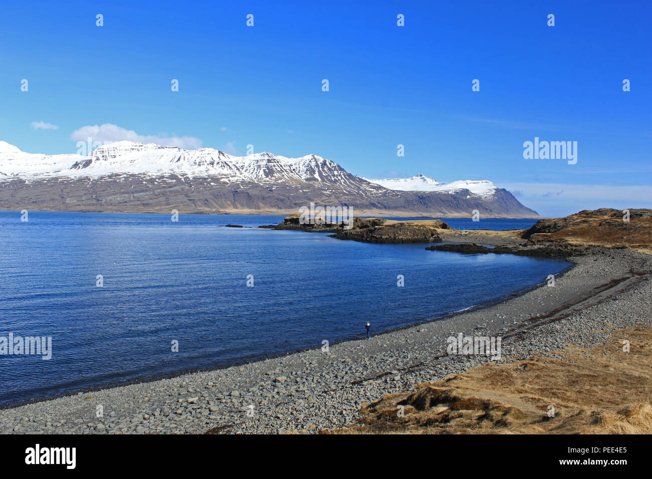 Picnic spot in East Fjords. Iceland. - Stock Image