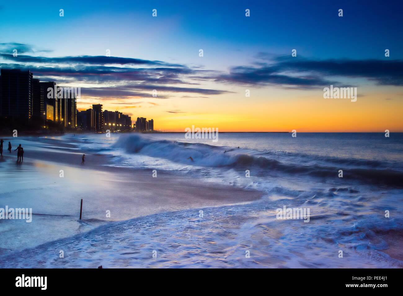Coast Line of Fortaleza, Ceara State, city of northeast of Brazil . Stock Photo