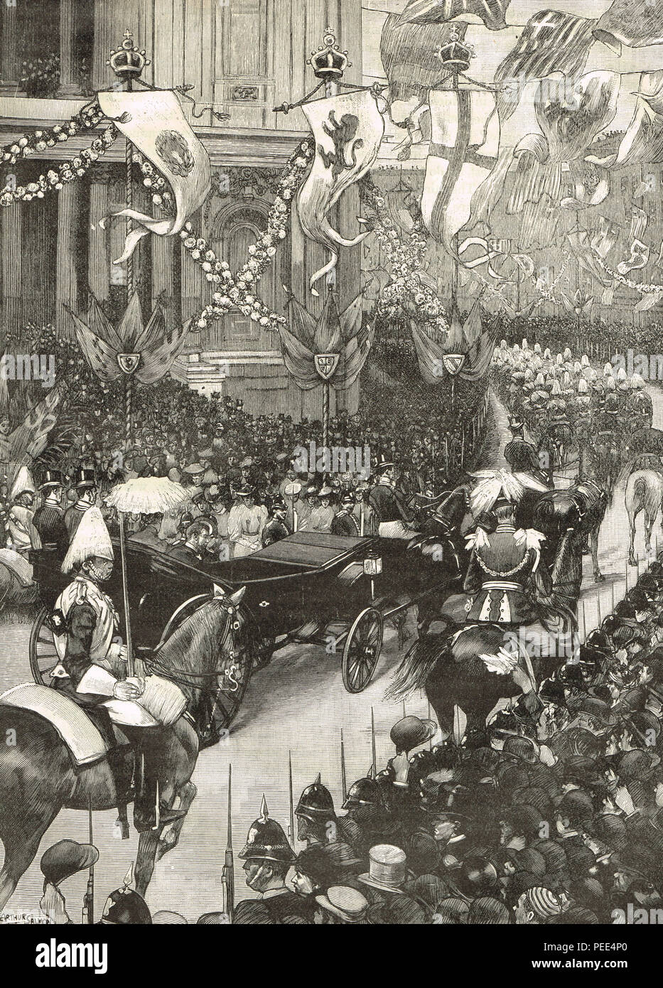Wedding of Prince George, Duke of York, and Princess Mary of Teck.  The Royal procession passing St Paul's cathedral en route to St James' Palace, London,  6 July 1893 - Stock Image