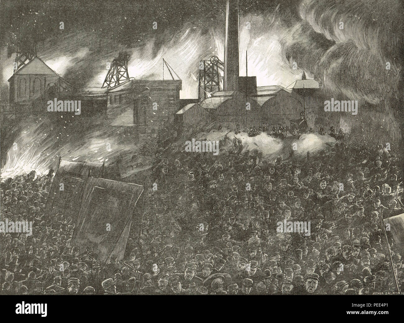 Soldiers firing on a crowd demonstrating at the colliery gates of Ackton Hall Pit, during the  Featherstone riots, 7 September 1893, following a reading of the riot act - Stock Image