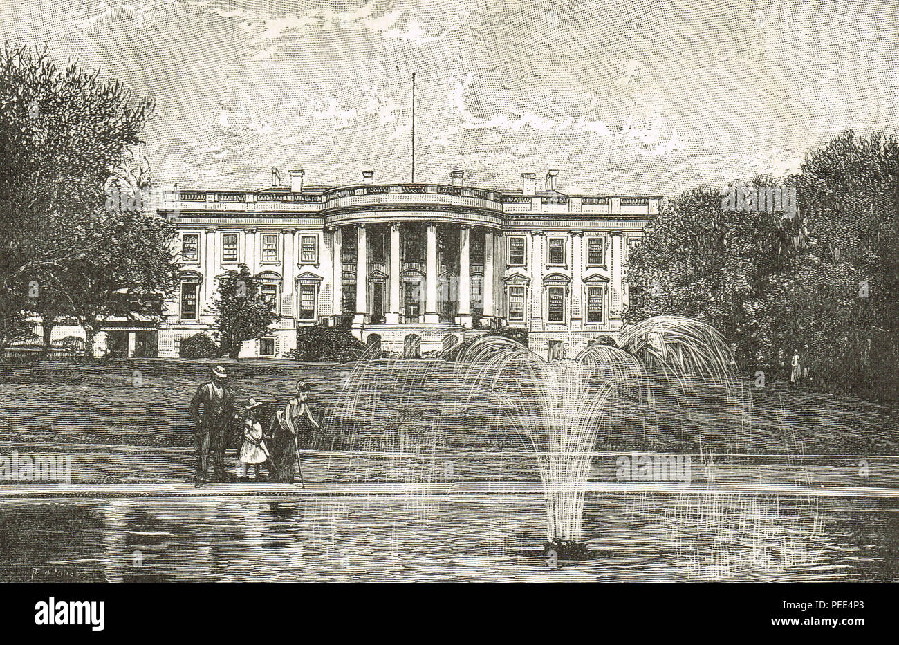 The White House, Washington, America, circa 1893, during the presidency of Grover Cleveland - Stock Image