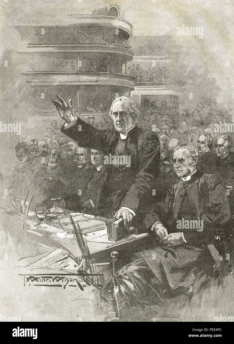 Archbishop of Canterbury, Edward White Benson, demonstration at the Royal Albert Hall, 16 May 1893, in opposition to the Welsh Suspensory Bill - Stock Image