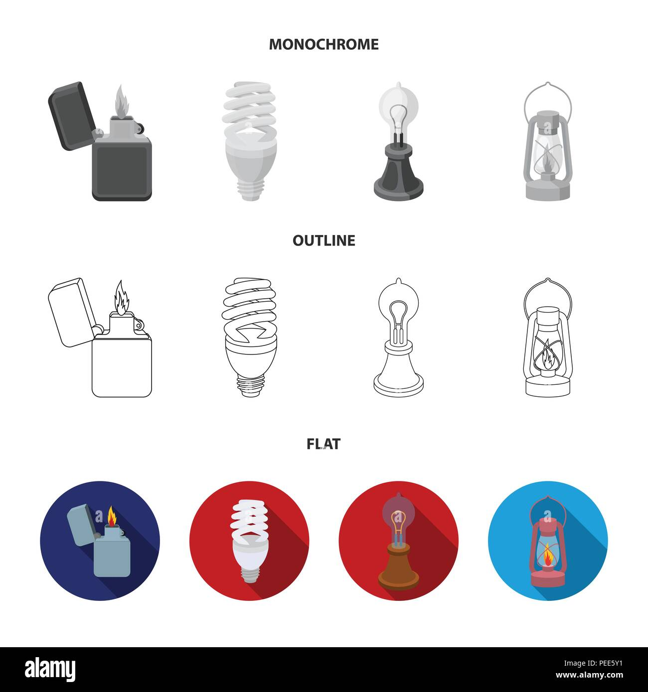 Searchlight, kerosene lamp, candle, flashlight.Light source set collection icons in flat,outline,monochrome style vector symbol stock illustration . - Stock Image