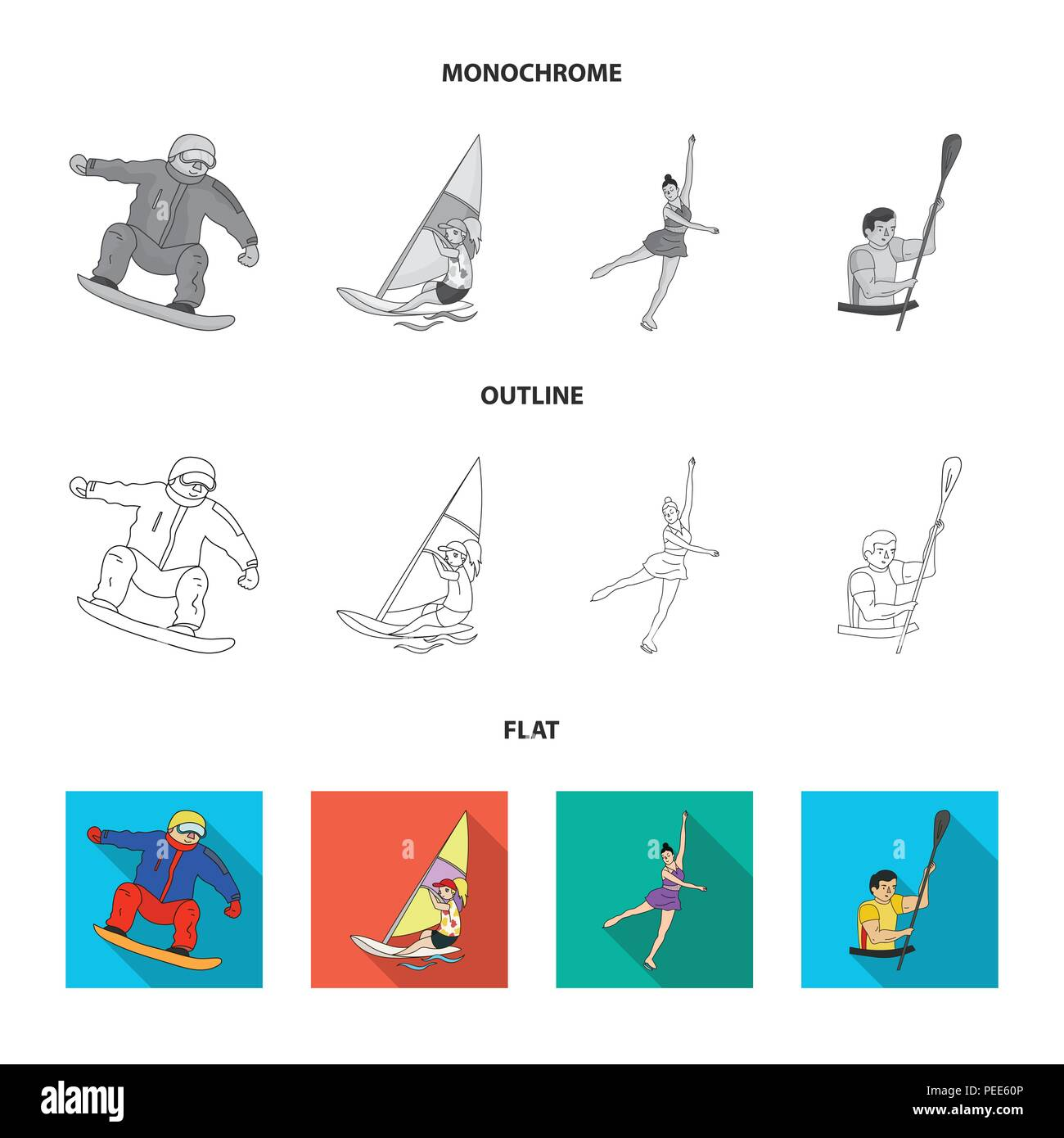 Archery, karate, running, fencing. Olympic sport set collection icons in flat,outline,monochrome style vector symbol stock illustration . - Stock Vector
