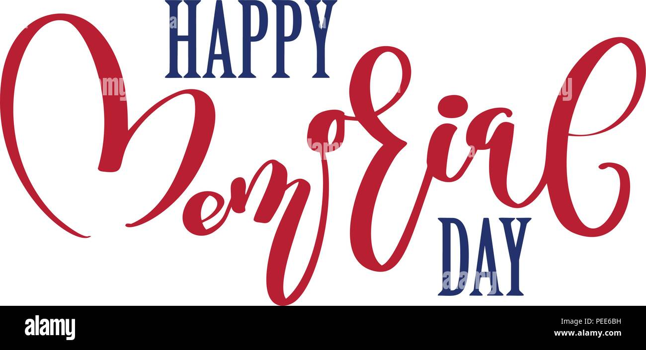 Vector Happy Memorial Day card. Calligraphy text in heart. National american holiday illustration. Festive poster or banner with hand lettering Stock Vector
