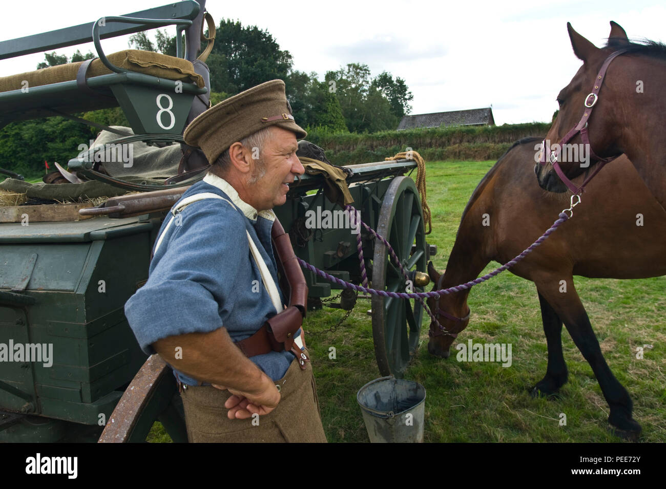 World War One living history reenactors with horses and cart at Hay-on-Wye Powys Wales UK - Stock Image