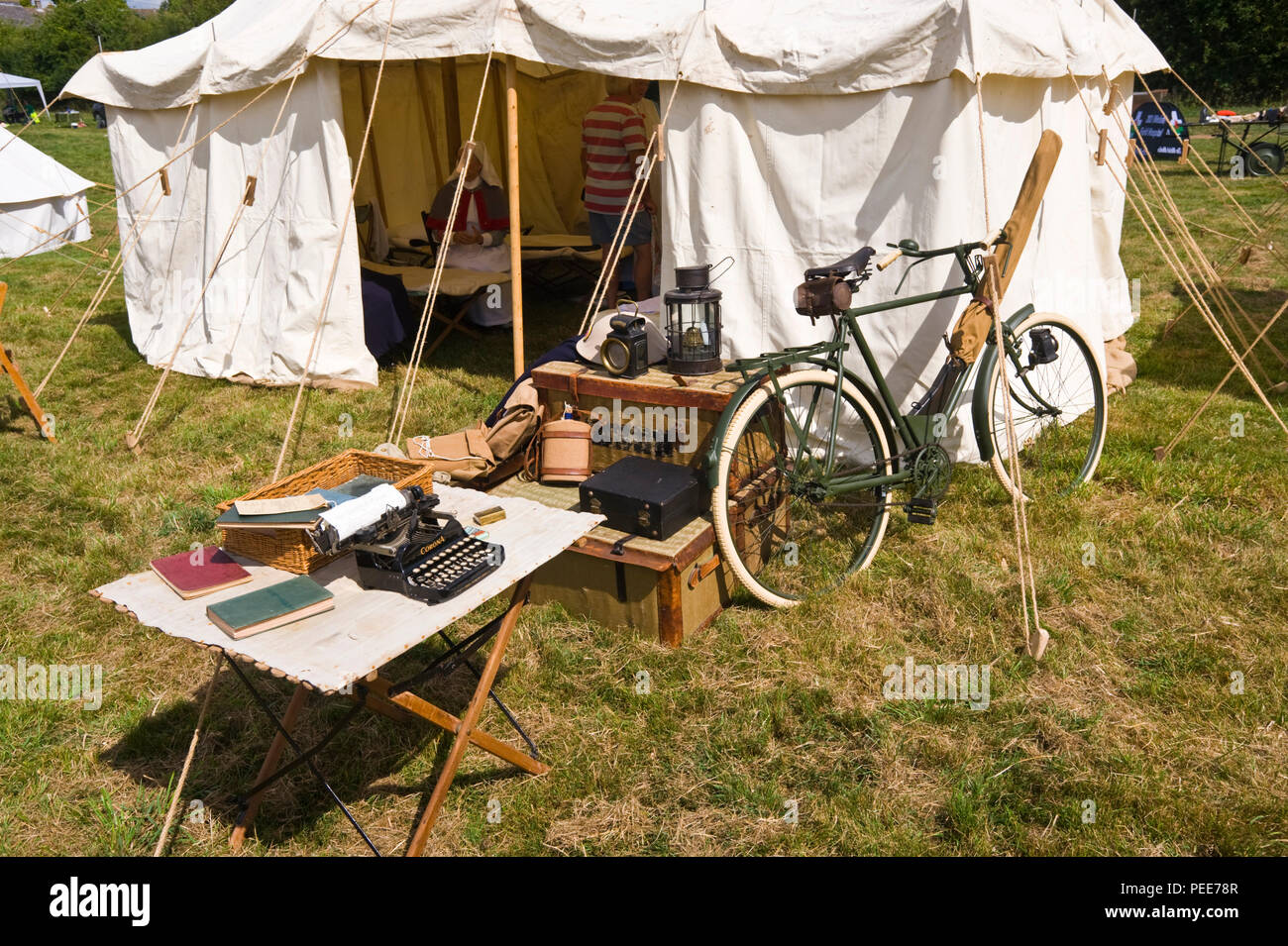 World War One living history reenactment tent at Hay-on-Wye