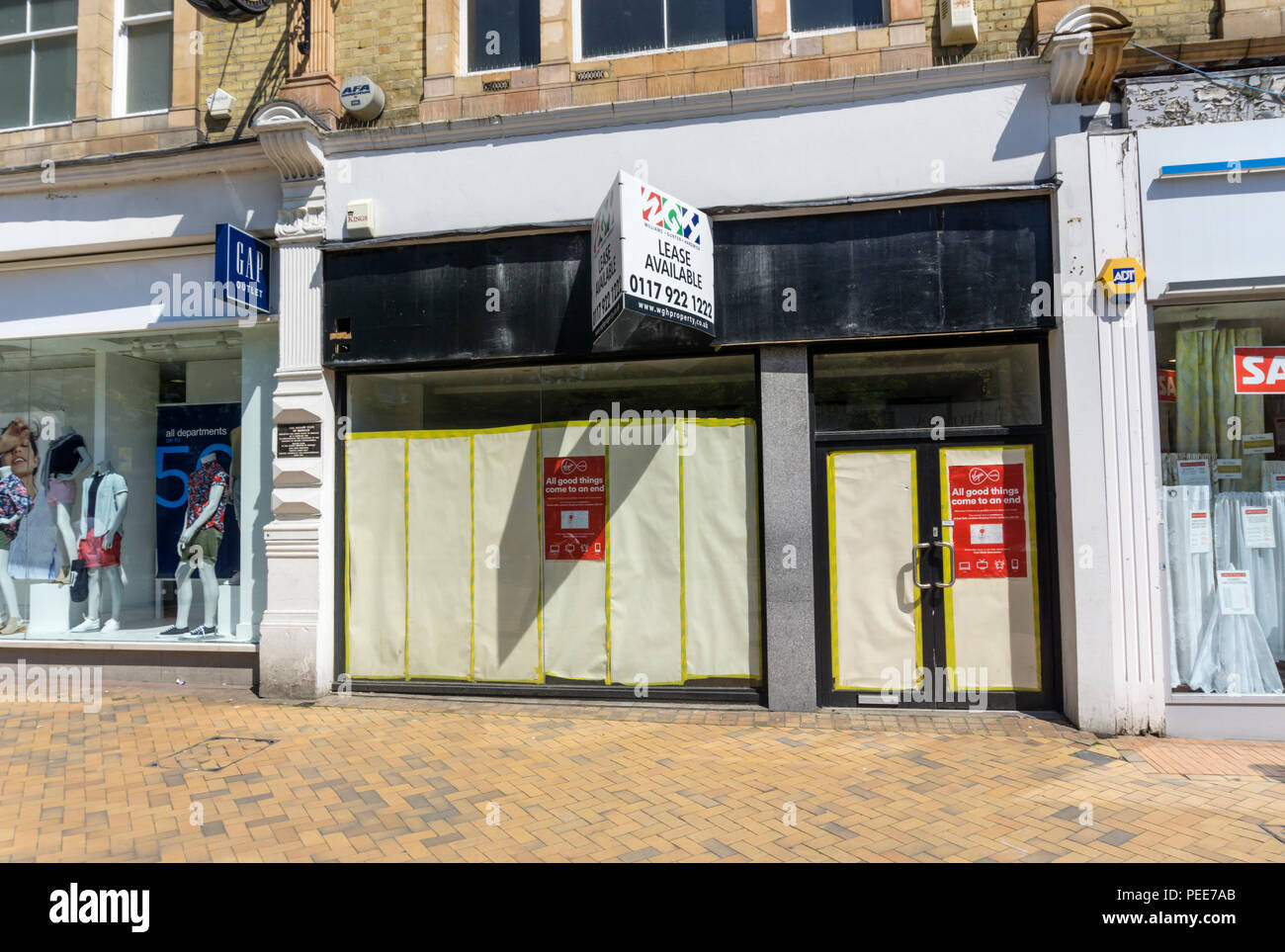 Closed Virgin Media shop in Bromley High Street, south London. - Stock Image