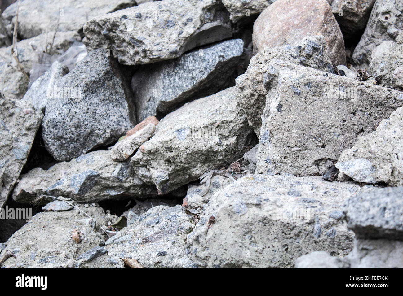 A pile of stones. Limestone, boulders, large stones - Stock Image