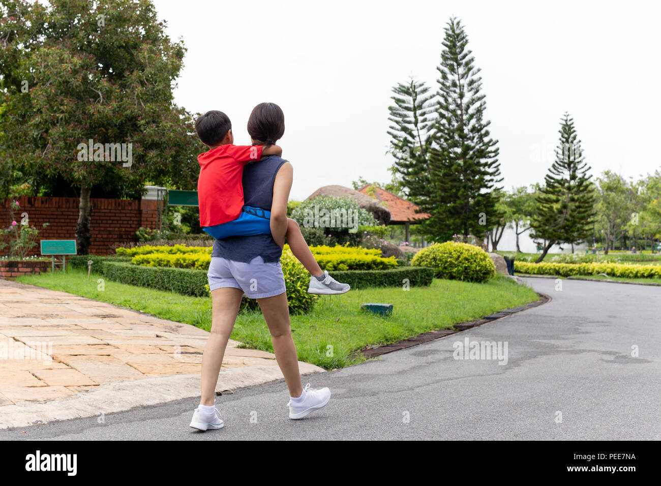 Mother and Son piggyback in the park in summer. - Stock Image
