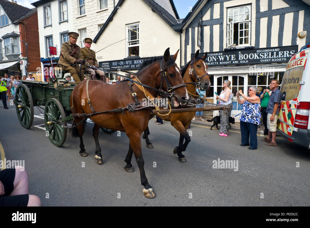 Living history reenactors World War One soldiers with horse and cart at Hay-on-Wye Powys Wales UK - Stock Image