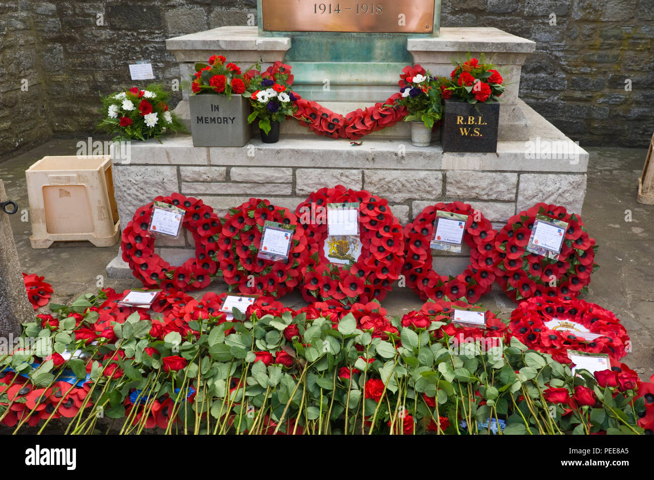 World War One Commemorative Event Poppy Wreaths Red Roses Laid