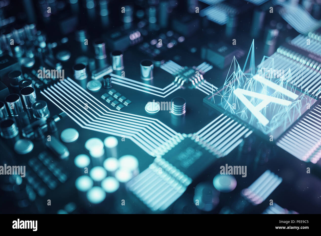 Admirable 3D Illustration Abstract Artificial Intelligence On A Printed Wiring Digital Resources Biosshebarightsorg