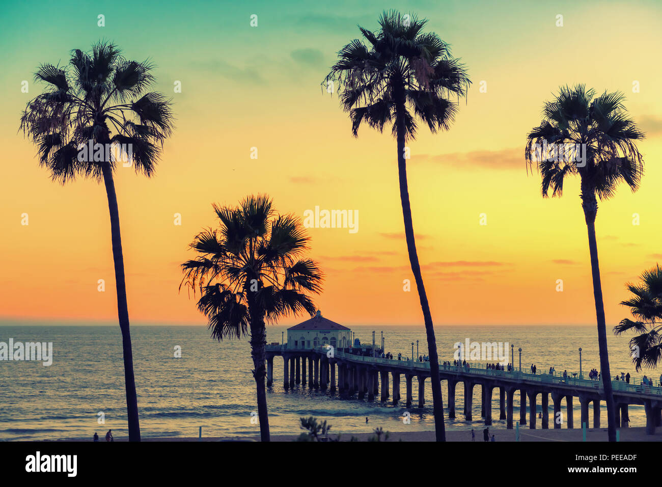 Manhattan Beach at sunset in California, Los Angeles - Stock Image