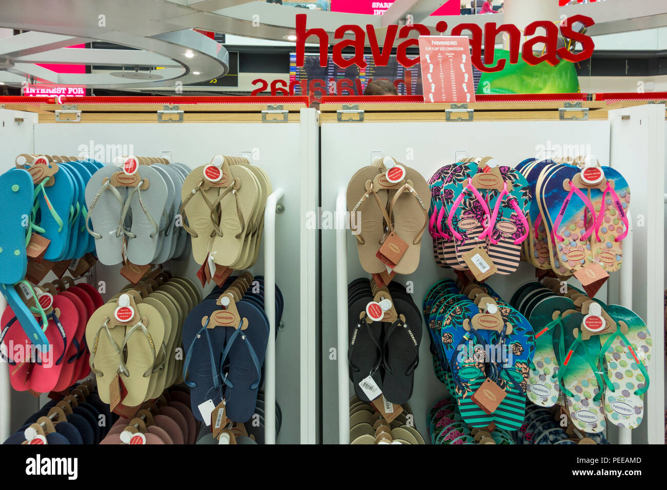 b49fe7206 Display of flip flops in a Duty Free shop at Gatwick Airport, Crawley, West