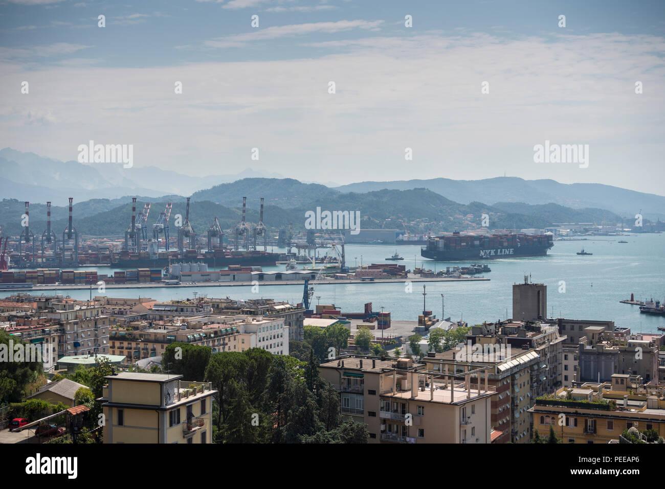 NYK LINE container ship approaching La Spezia Port, Liguria, Italy - Stock Image
