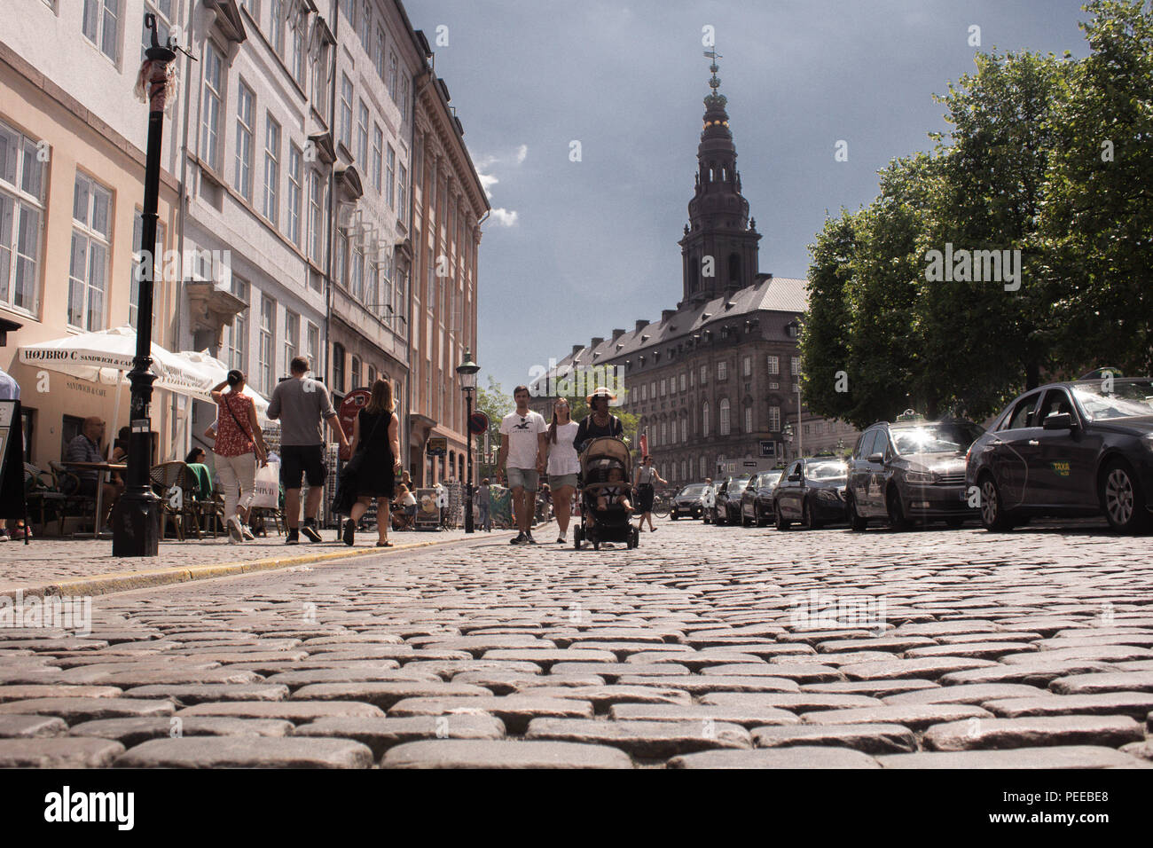 Looking at Christiansborg Palace from Højbro Pl, Copenhagen Denmark - Stock Image