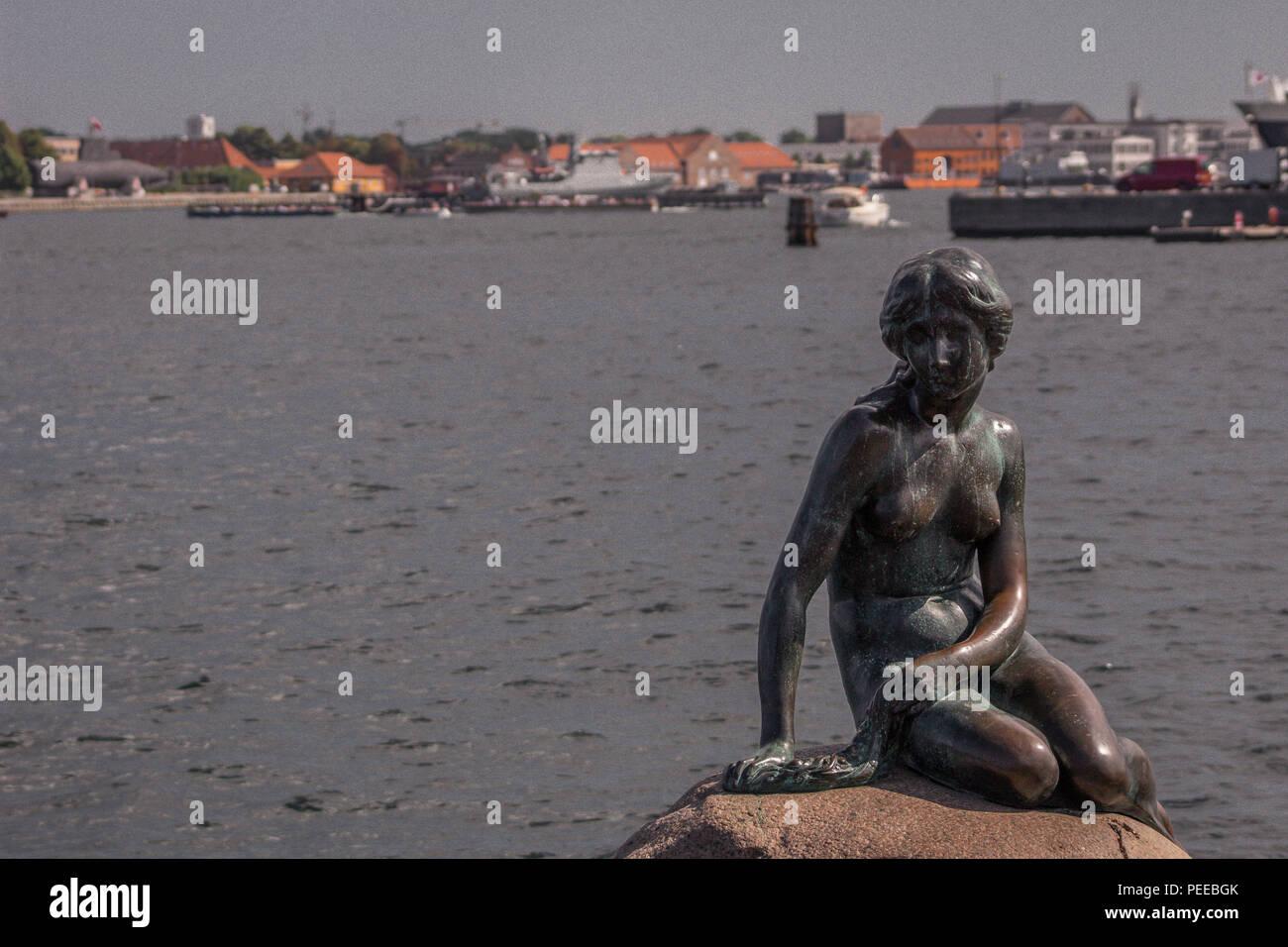 The Little Mermaid, Langelinie, København Ø, Denmark - Stock Image