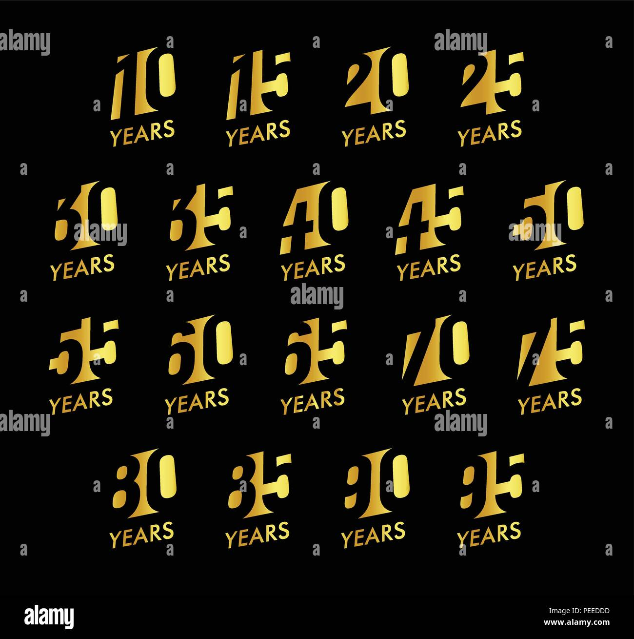 Anniversary vector numbers set. Birthday celebration logo collection. Golden years signs on black background. Jubilee design illustration. - Stock Vector