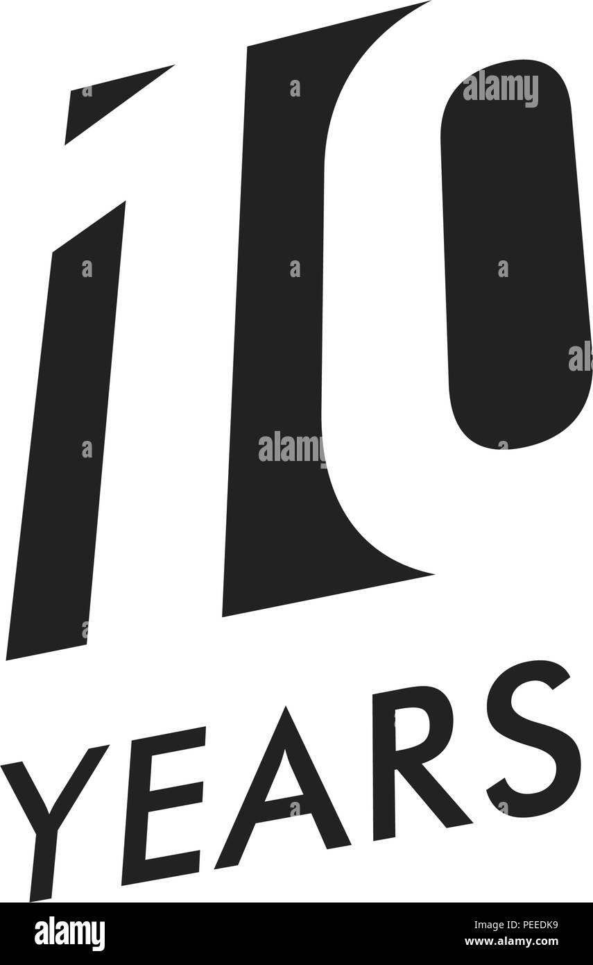 Ten Years Vector Emblem Template Anniversary Symbol Negative Space