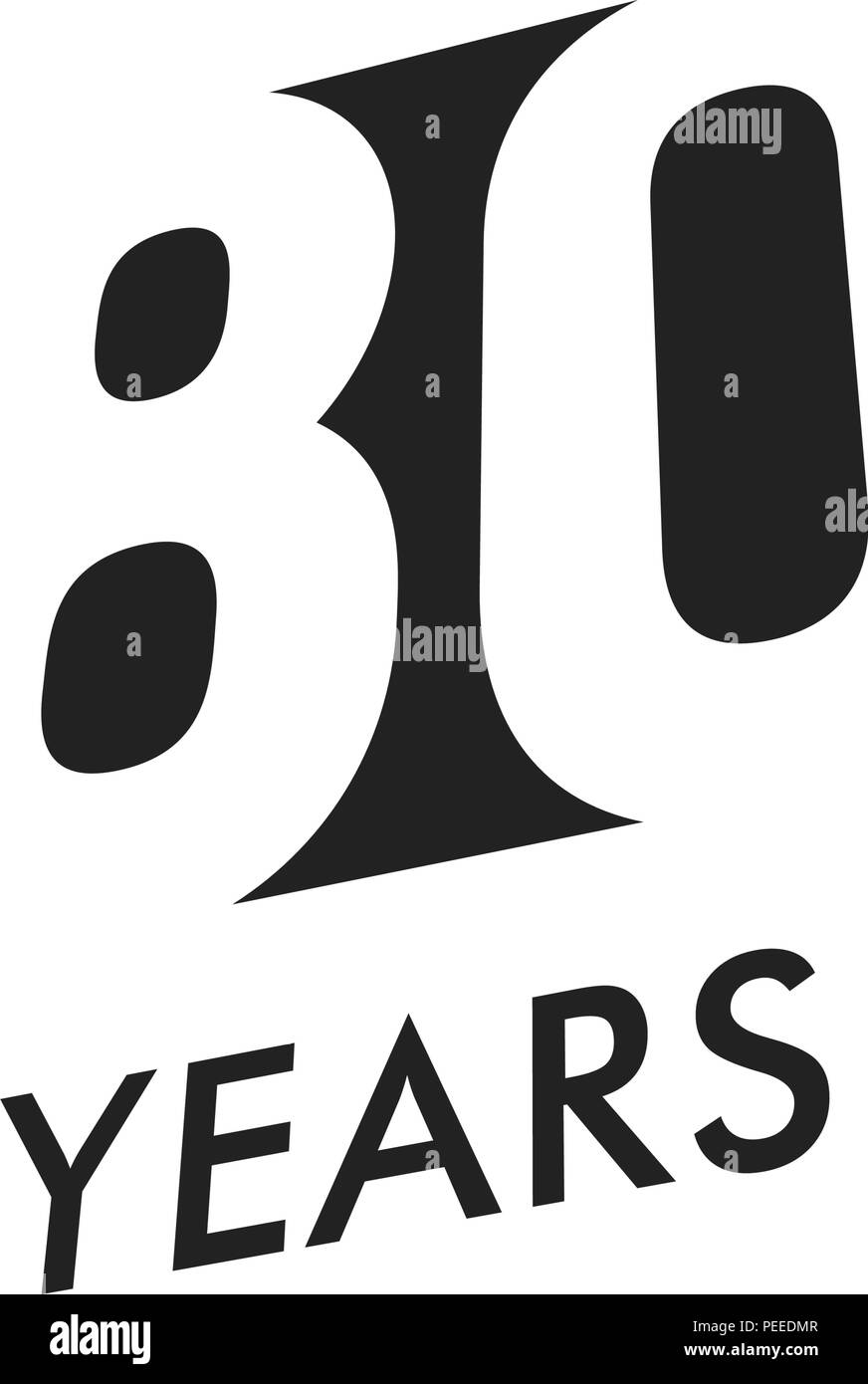 Eighty years vector emblem template. Anniversary symbol, negative space design. Jubilee black color icon. Happy 80th birthday, abstract illustration. - Stock Vector