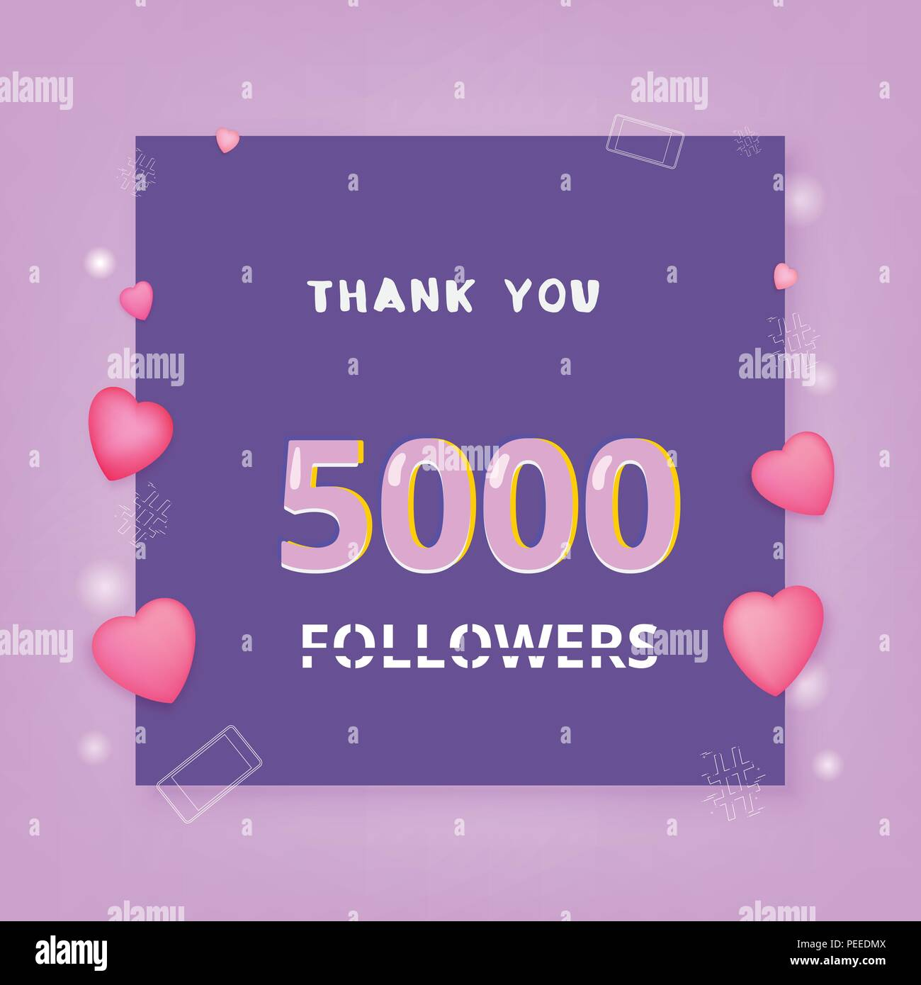 5000 followers thank you banner with frame and hearts template for