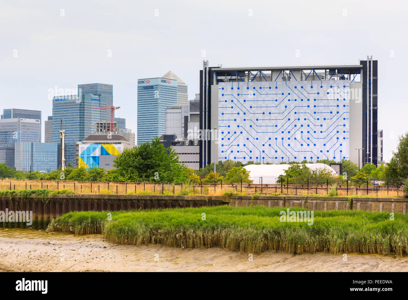 View to Telehouse North Two data centre building and Canary Wharf panorama, Docklands, East London, UK Stock Photo
