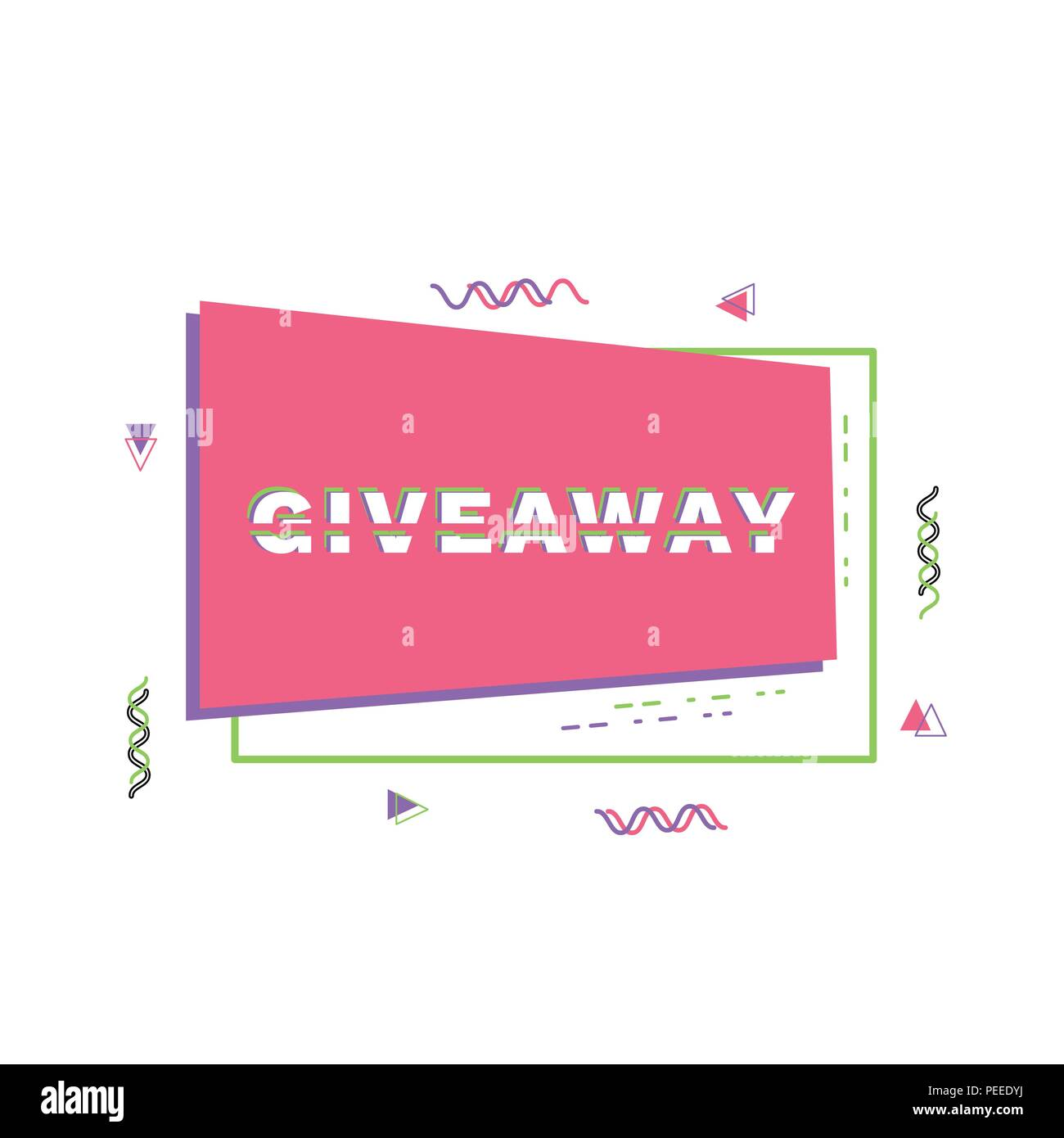 giveaway horizontal banner with frame sliced text effect memphis
