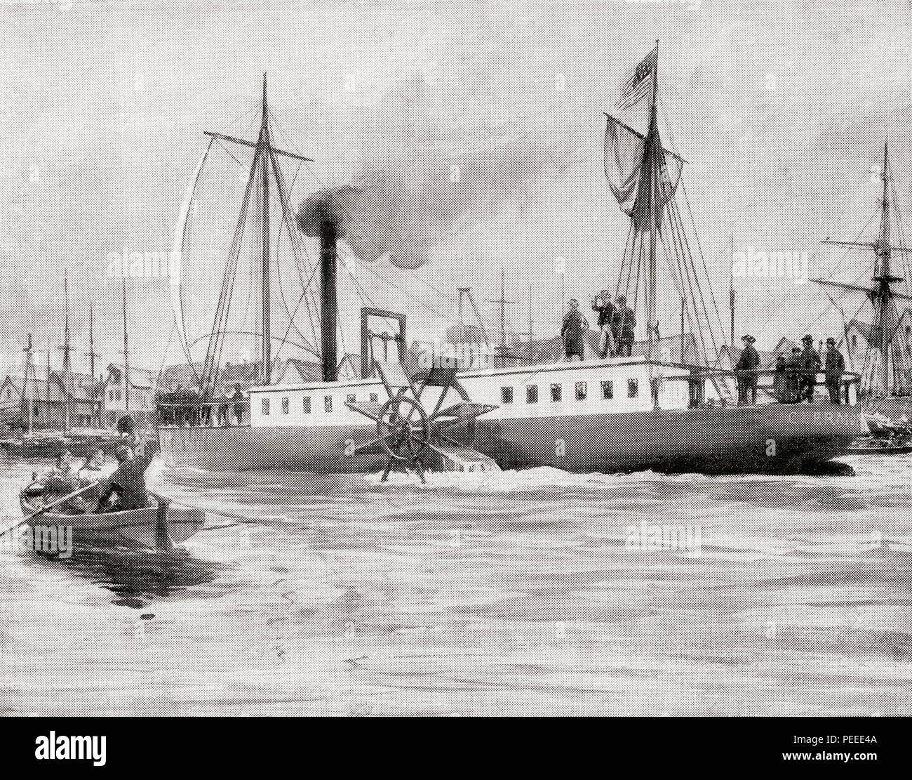Robert Fulton's steam vessel The North River Steamboat or North River, aka The Clermont. She steamed 150 miles in 32 hours on her trial trip in 1807.  From The Book of Ships, published c.1920. - Stock Image