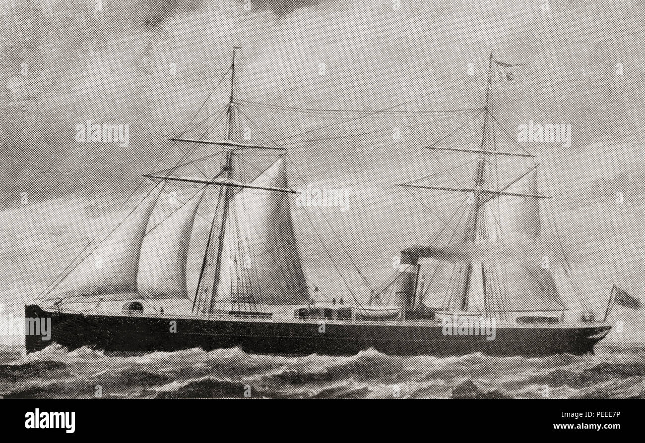 One of the first Atlantic twin-screw steamers.  A twin-screw steamer (or steamship)  is a steam-powered vessel propelled by two screw propellers, one on either side of the plane of the keel. From The Book of Ships, published c.1920. - Stock Image