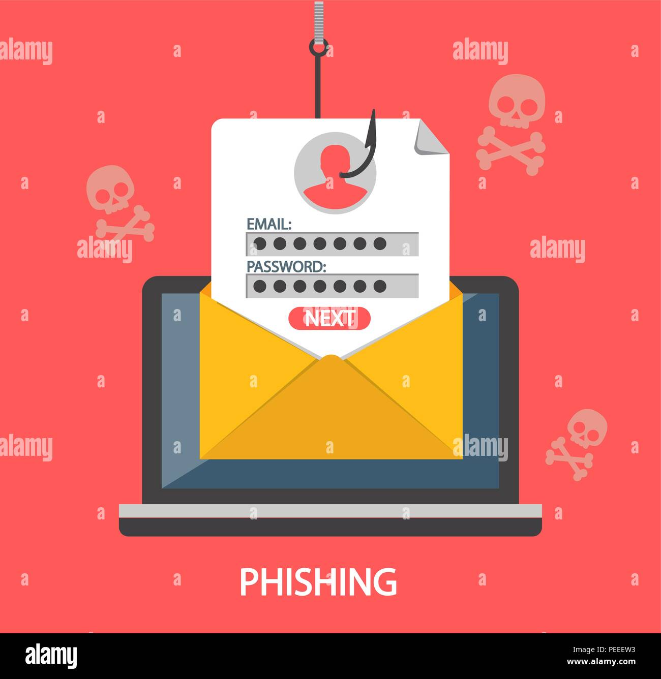 Phishing login and password on fishing hook from email envelope on
