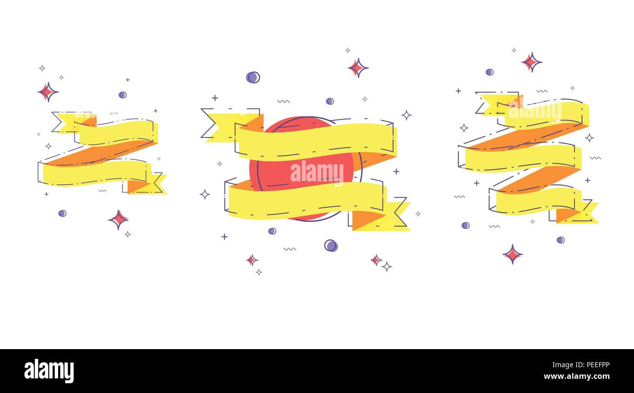 Vector Flat Set Of Ribbons With Dashed Lines And Geometric Abstract