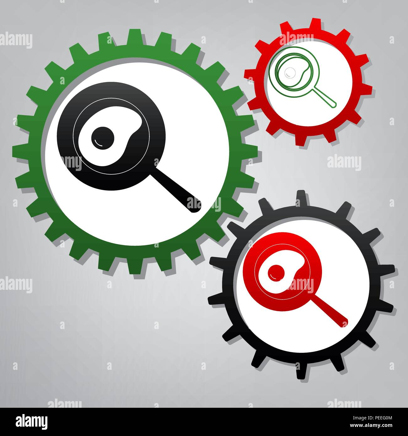 Omelet at pan icon. Vector. Three connected gears with icons at grayish background. - Stock Vector