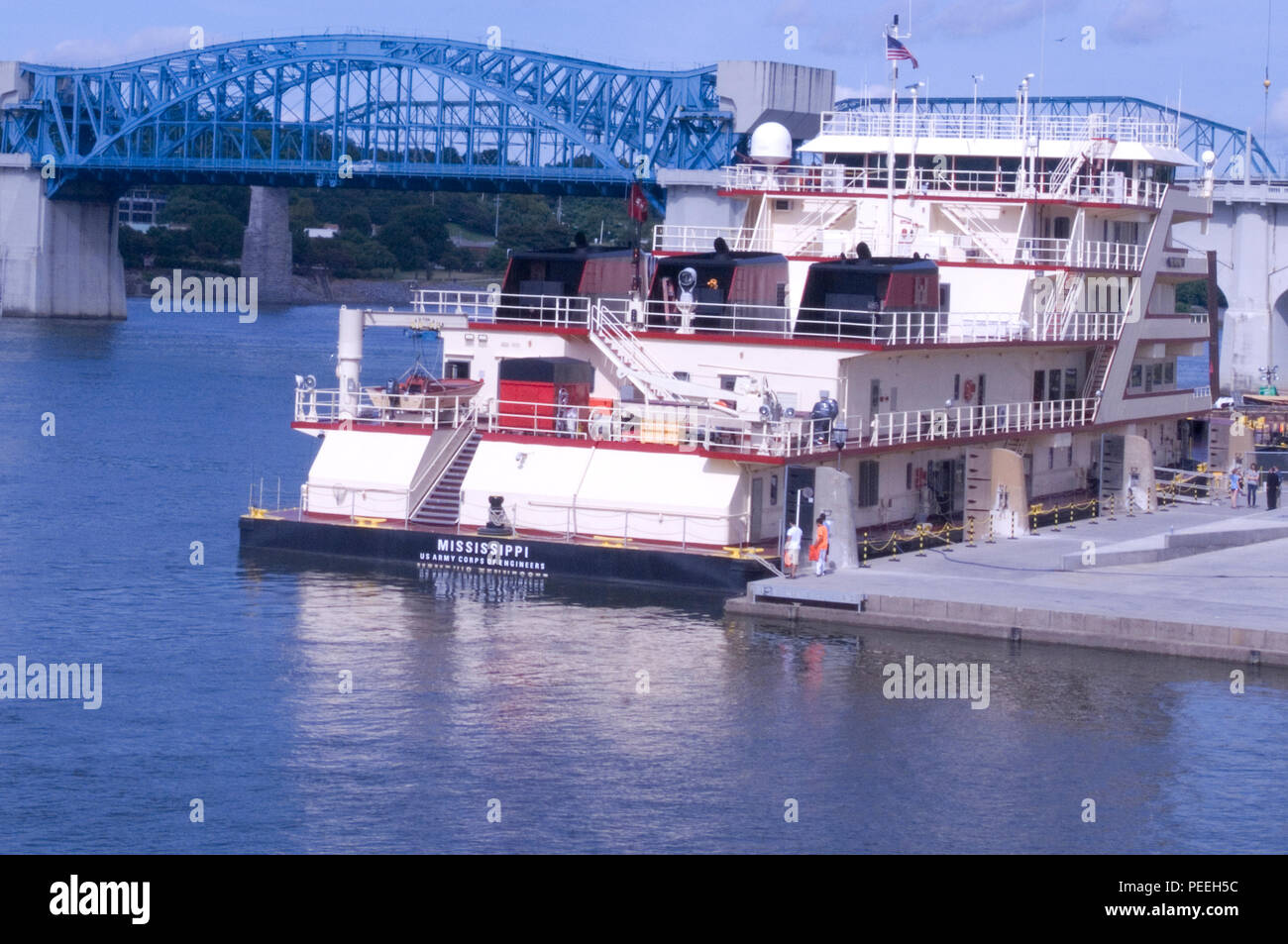 The Motor Vessel Mississippi is docked at Ross's Landing in Chattanooga, Tenn., Aug. 7, 2015. The M/V Mississippi spends more than 90 percent of its time as a working towboat, moving barges, equipment and supplies on the lower Mississippi River. The M/V Mississippi, built in 1993 by Halter Marine, is the fifth Army Corps of Engineers towboat to bear the name. It is the largest diesel towboat in the United States at 241-feet long, 58-feet wide and five stories high. Three 2,100-horsepower diesel engines power the vessel. (USACE photo by Leon Roberts) Stock Photo