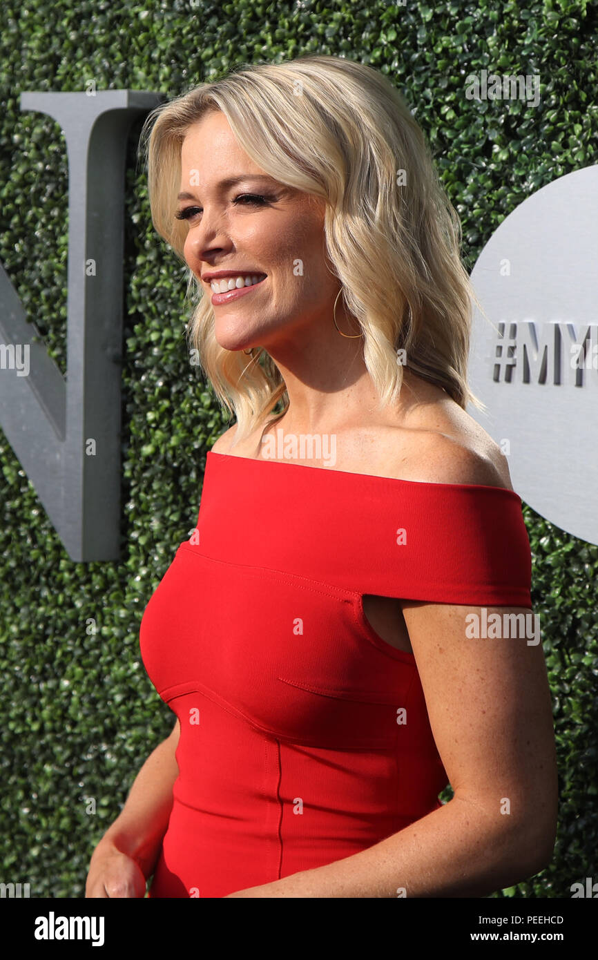 American journalist and political commentator Megyn Kelly on the blue carpet before US Open 2017 opening night ceremony - Stock Image