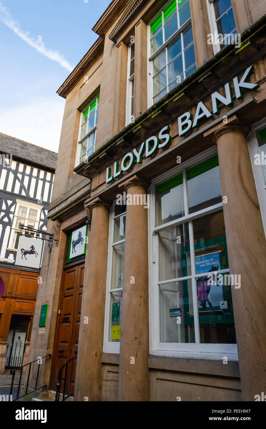 Chester, UK: Aug 6, 2018: A branch of Lloyds Bank in Chester city centre. Lloyds is a British retail and business bank with branches throughout Englan - Stock Image