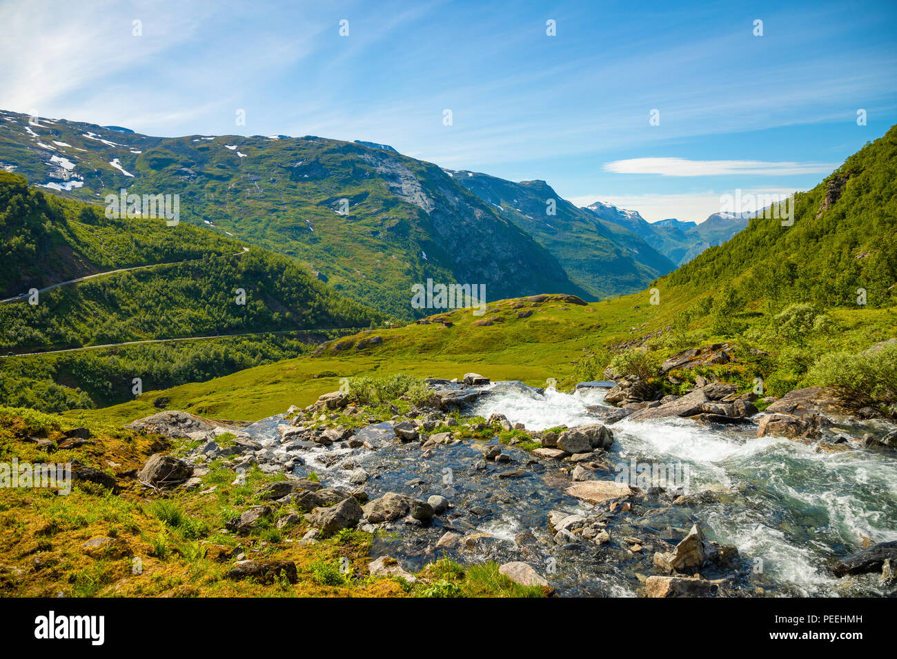 Landscape of the Geiranger valley near Dalsnibba mountain, Norway - Stock Image