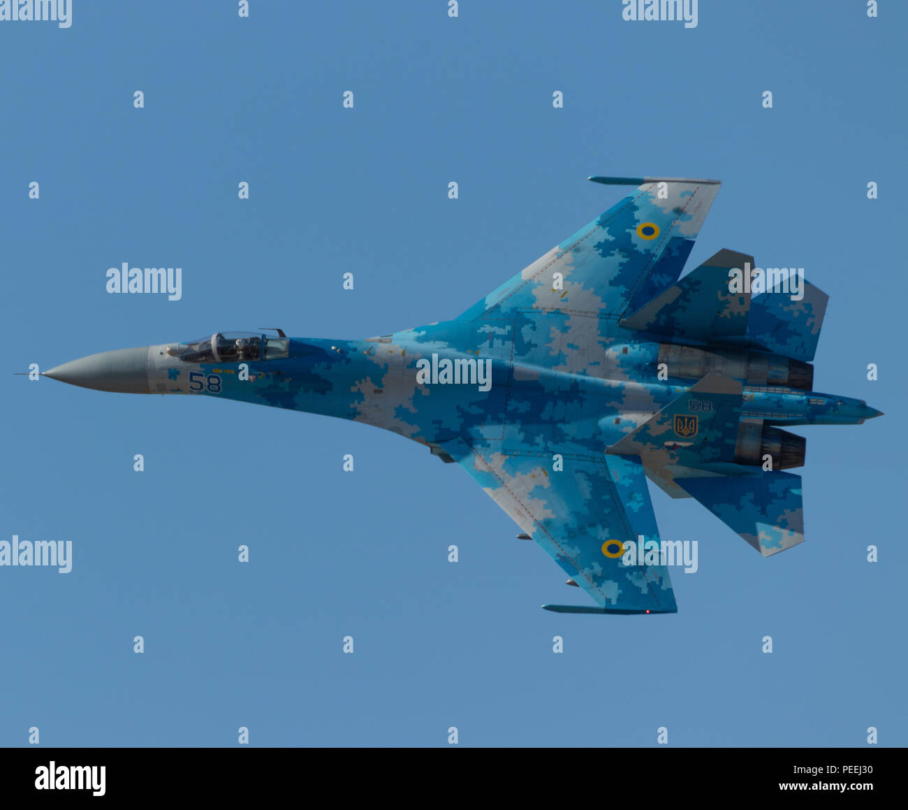 Ukranian Su-27 Flanker During its Airshow Display at Royal International Air Tattoo 2018 - Stock Image