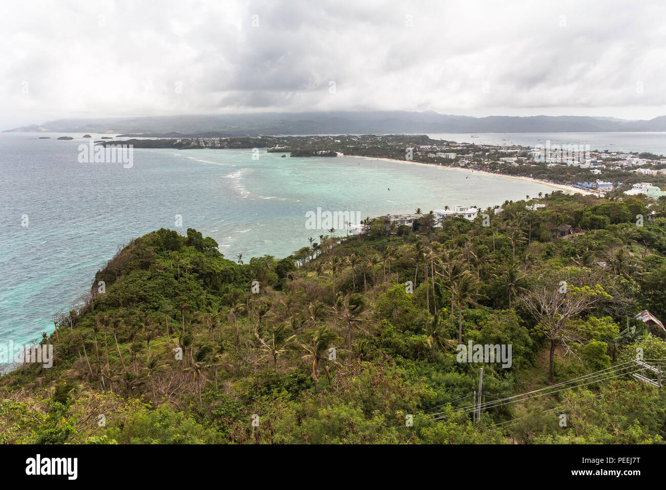 View over the island of boracay on the philippines - Stock Image
