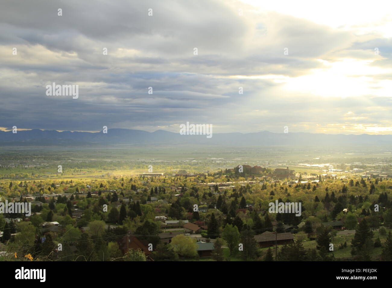 The sun sets on Carroll College, Helena, Montana, USA - Stock Image