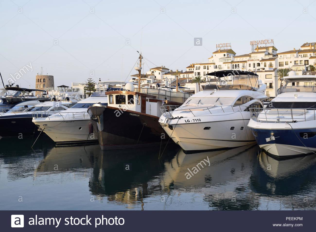 Modern yachts in harbor at dawn, Puerto Banus - luxury