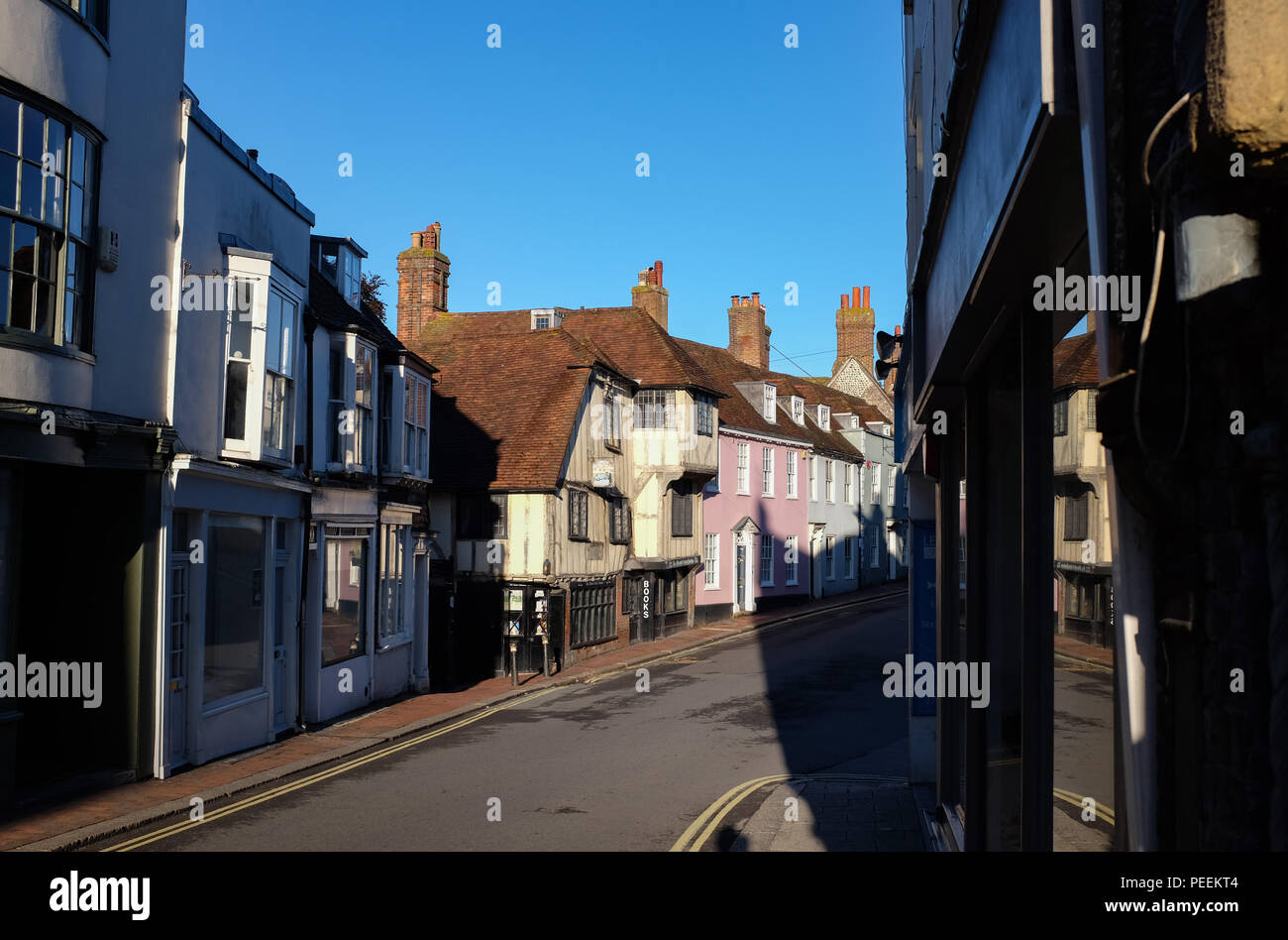 Lewes Town Centre East Sussex UK - The famous Fifteenth Century Bookshop Photograph taken by Simon Dack - Stock Image